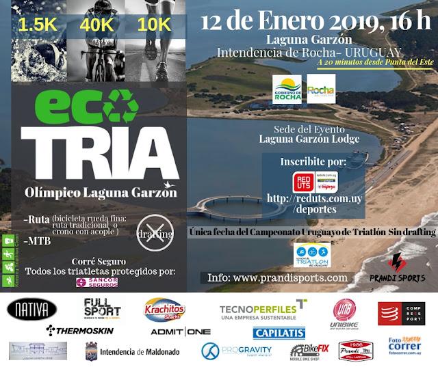 Eco Triatlón Olímpico de la laguna Garzón (Rocha - 12/ene/2019)