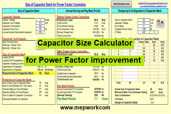 Download Capacitor Size Calculator for Power Factor improvement (XLS)