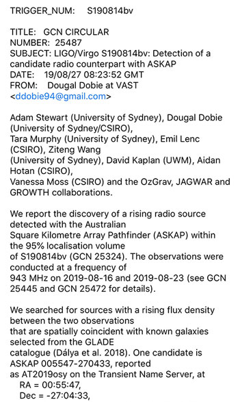 GW Event screenshot showing ASKAP counterpart detection for S190814bv (Source: GCN Circular 25487)