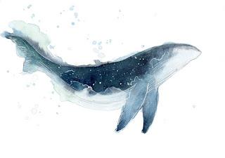 Modrá velryba namalovaná stylem watercolor.