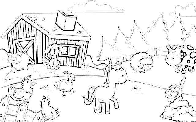 belajar menggambar dan mewarnai binatang hitam putih kumpulan margasatwa di peternakan
