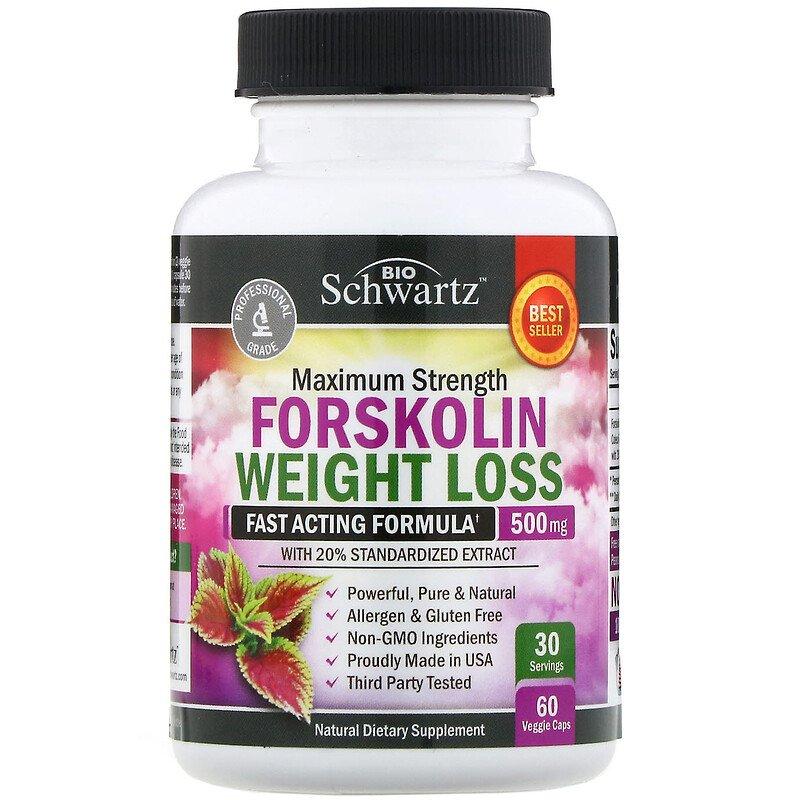 BioSchwartz, Максимальная эффективность, форсколин для снижения веса, 500 мг, 60 растительных капсул
