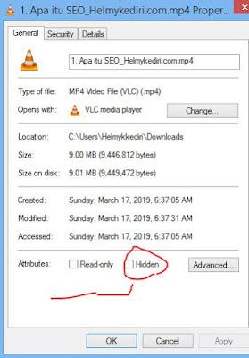 menyembunyikan file diwindows