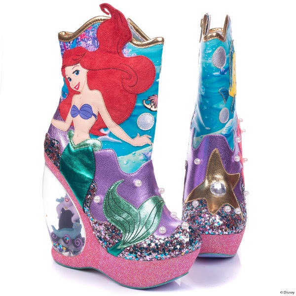 ankle boots with ariel mermaid applique and glitter and pearl details