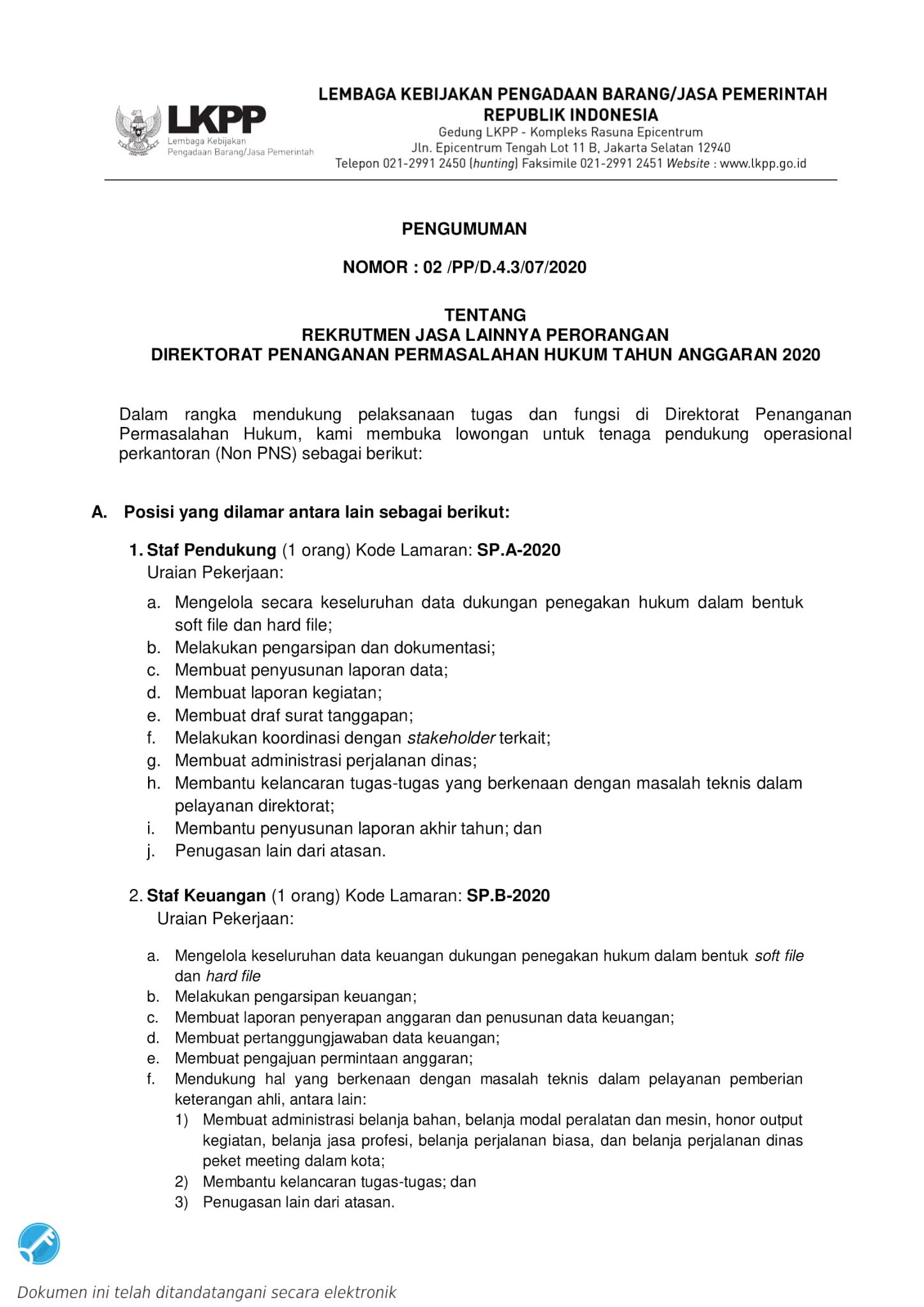 Lowongan Kerja Pegawai Non Pns Direktorat Penanganan Permasalahan Hukum Lkpp Agustus 2020 Rekrutmen Lowongan Kerja Bulan Februari 2021