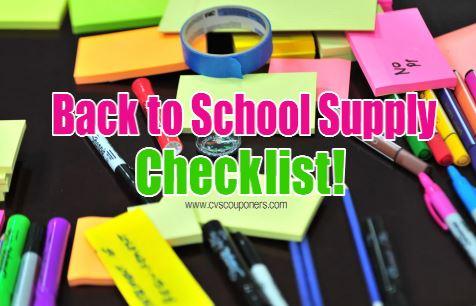 back to school supply checklist