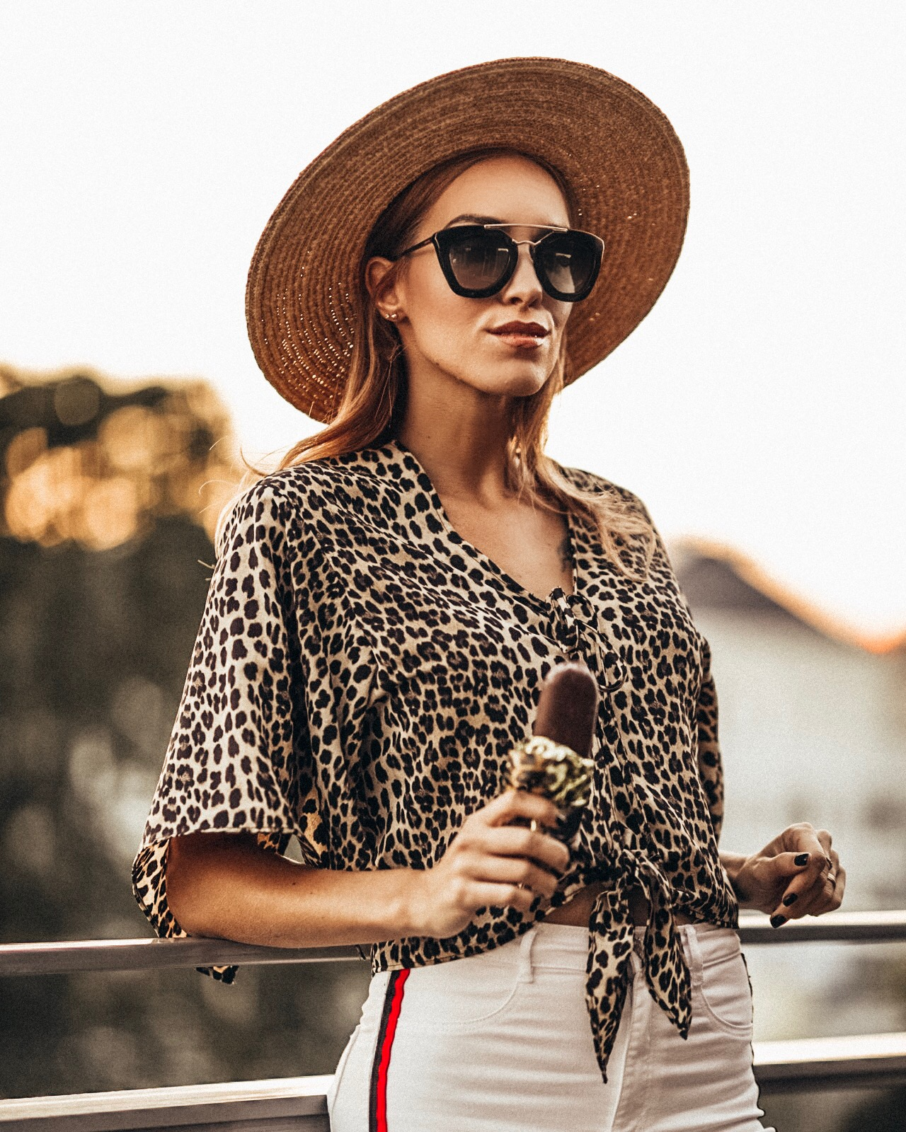 leopard print top straw hat outfit