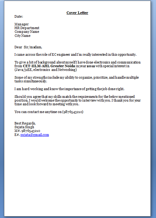 Email Job Application Cover Letter Example