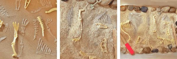 Dinosaur play fossils in a  trofast tray