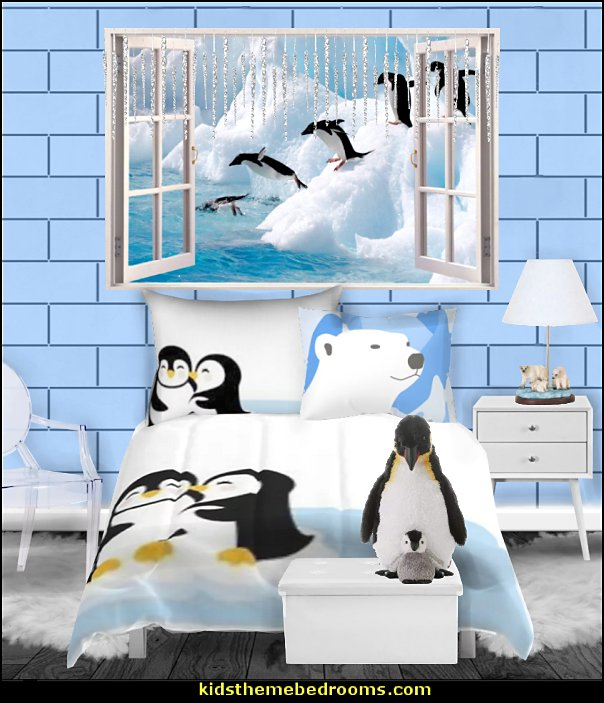 Penguin Comforters  plush penguins window snow wallpaper mural white furniture penguin bedding winter bedroom ideas