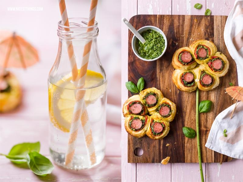Sommerlicher Snack Kabanossi im Blätterteig Blume