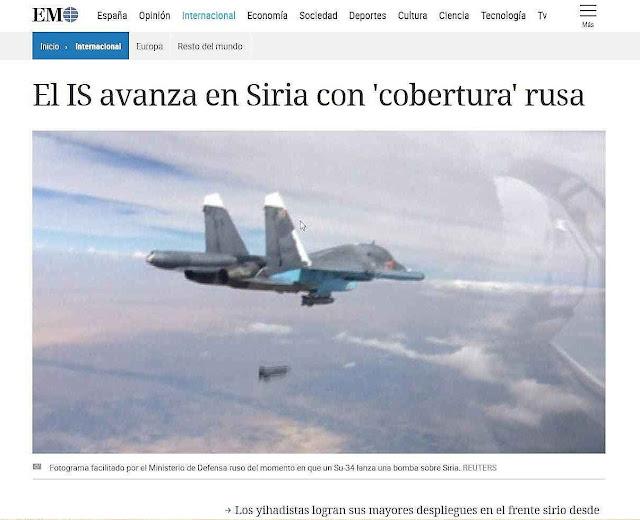 Snapshot do 'El Mundo' de Madri 'cobertura' russa na verdade favorece o avanço do Estado Islâmico