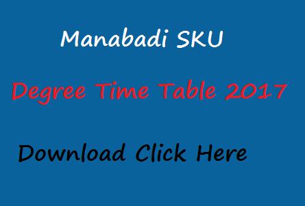 sku degree time table 2017