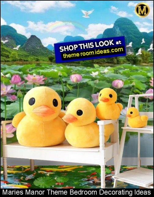 duck pond wallpaper mural large plush ducks duck bedroom decor