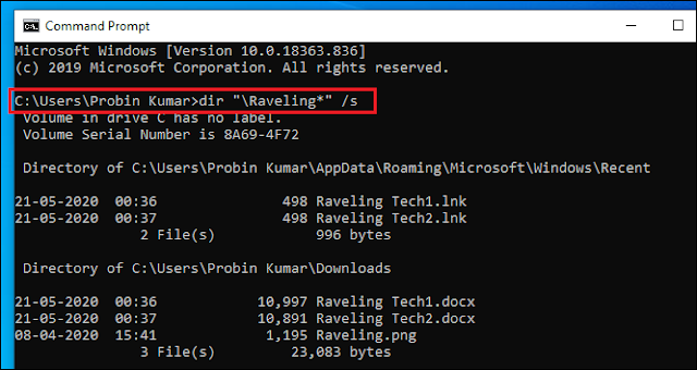 CMD command to search file faster.