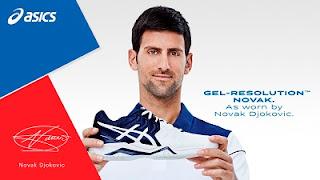 kasut ASICS gel resolution novak adalah kasut eksklusif 2018 untuk Novak Djokovic