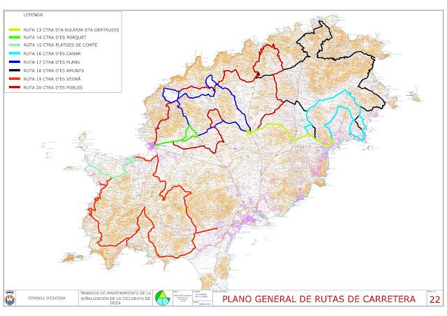 las 8 rutas para bicicleta de carretera del consell d'eivissa