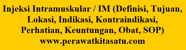 Injeksi Intramuskular / IM (Definisi, Tujuan, Lokasi, Indikasi, Kontraindikasi, Perhatian, Keuntungan, Obat, SOP)