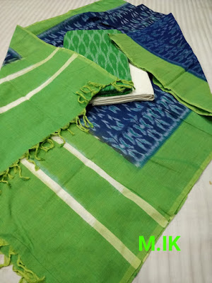 Fashionable ikkat sets in merceraized dupatta with ikkat cotton top & plain cotton bottom