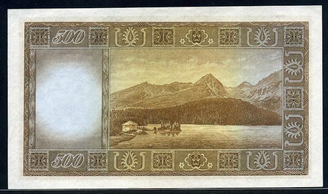 World paper money Czechoslovakian currency banknotes 500 korun banknote