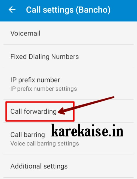 click on call divert option