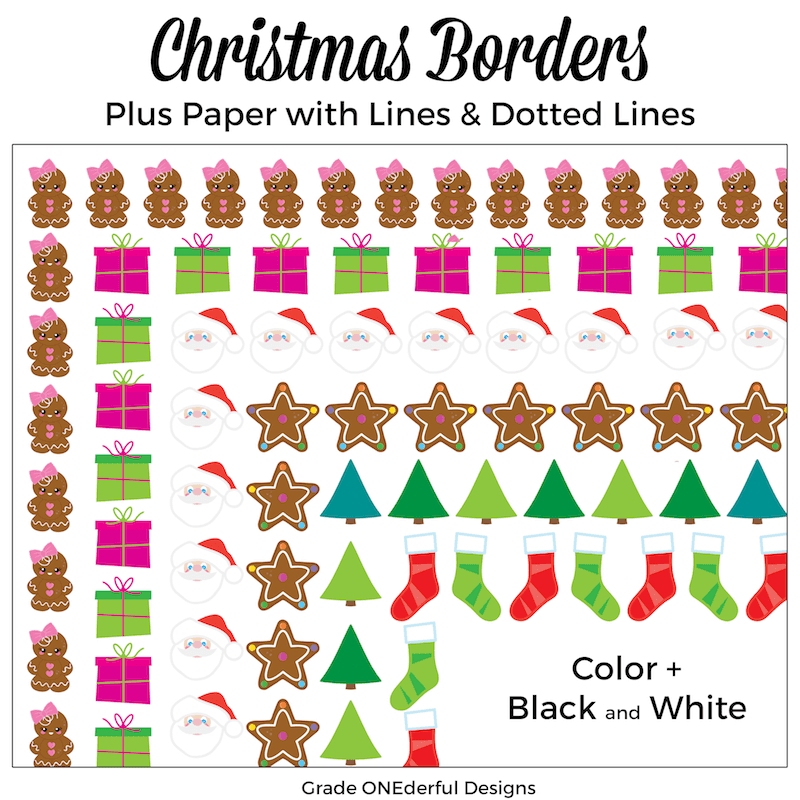 Christmas Borders Clip Art: Plus a Freebie. I have 6 adorable borders: gingerbread girl, presents, Santa, gingerbread stars, trees and stockings. This set also includes papers (plain, lined, primary lined) with each of the Christmas frames. #gradeonederful #christmasclipart #christmasborders #christmaspapers