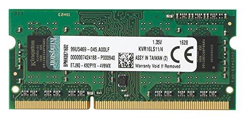 Kingston KVR16LS11/4 - Tarjeta de memoria DDR3L-RAM de 4 GB (1600 MHz, FBGA)