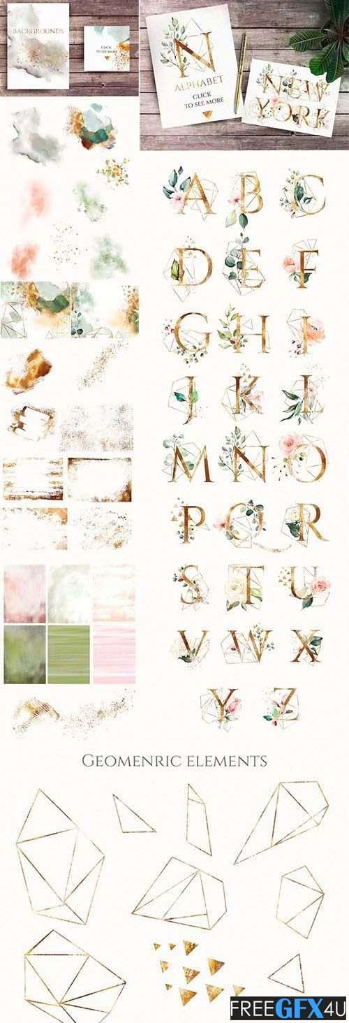 Floral Alphabet Letters Geometrics Pack
