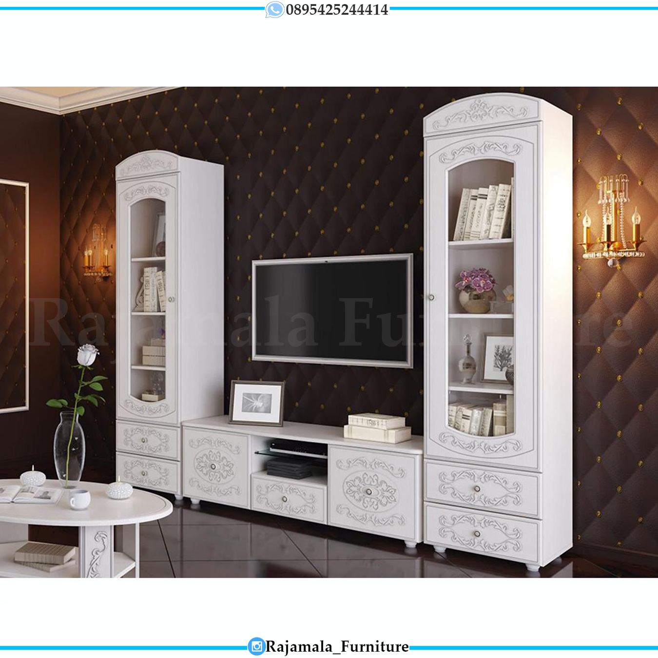 Bufet TV Mewah Luxury Classic White Duco Furniture Jepara Terbaru RM-0509