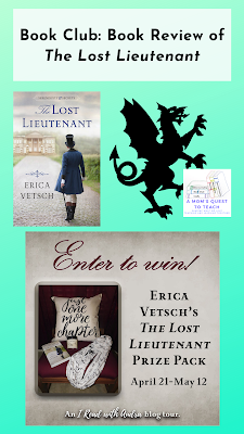 book cover of The Lost Lieutenant; clip art of dragon; Enter to Win prize back dated April 21-May 12