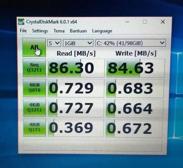 Uji Coba HDD dan SSD di Laptop dengan CrystalDiskMark