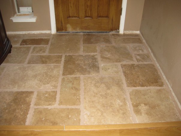 Once Upon a Cedar House: Installing Travertine Tile in the ...