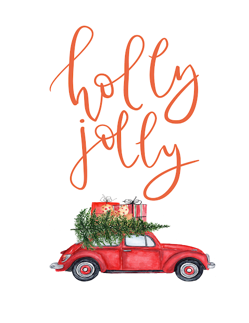 free holly jolly Christmas printable red volkswagen Christmas tree