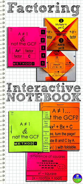 Flippables for a factoring interactive notebook (foldables)