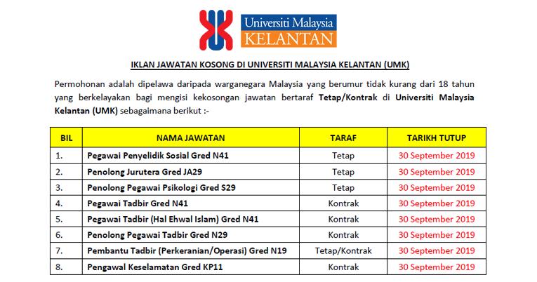 Jawatan Kosong Di Universiti Malaysia Kelantan Umk Ejawatankini Com