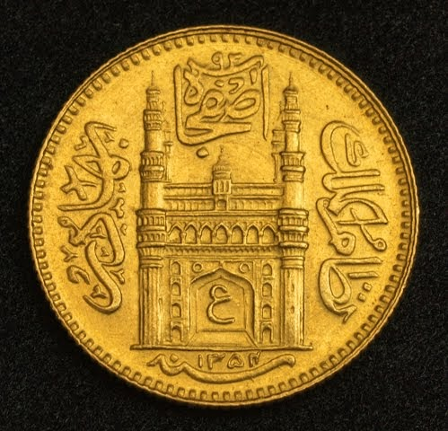 Indian Gold 189 Ashrafi Coin Hyderabad 1935 World