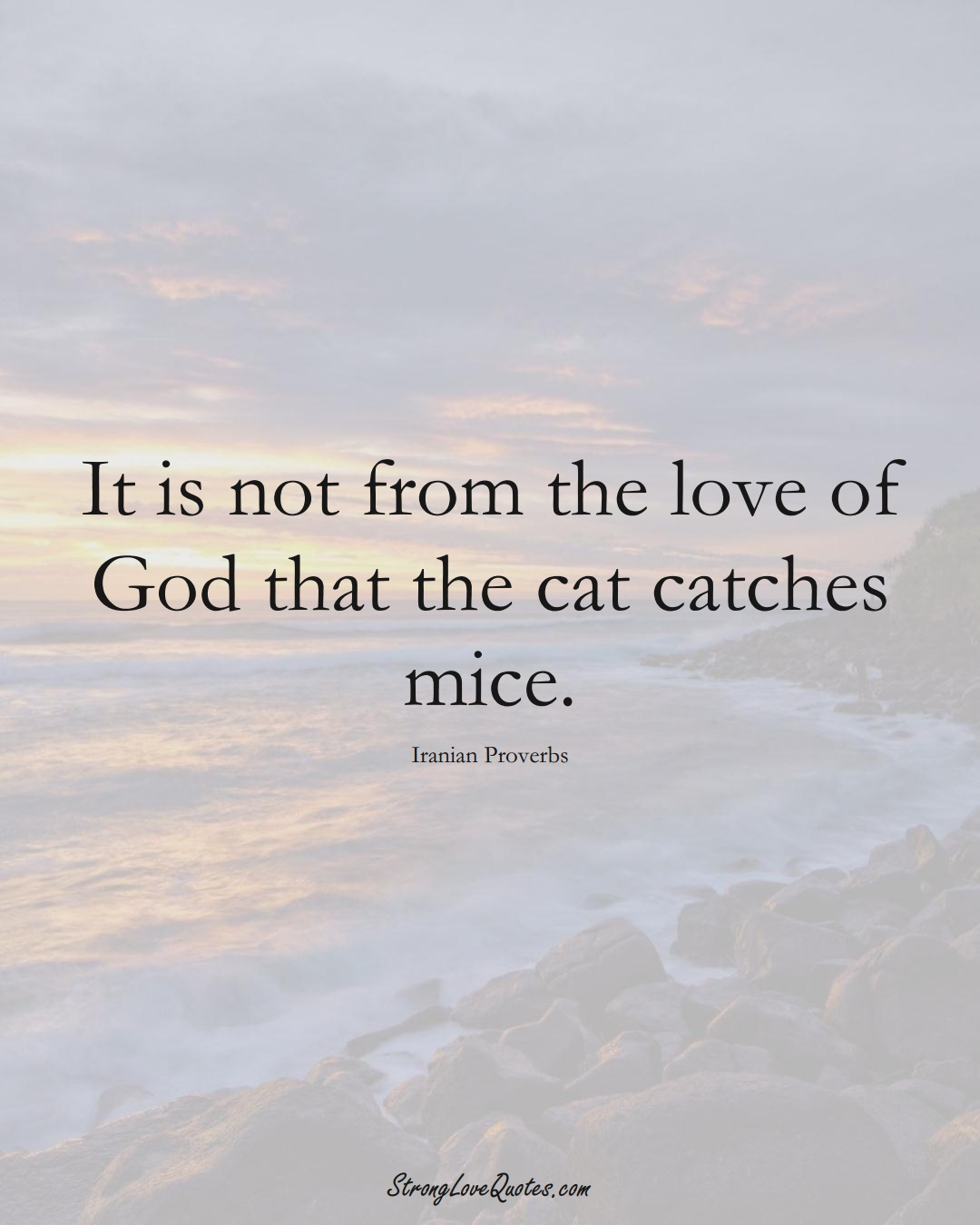 It is not from the love of God that the cat catches mice. (Iranian Sayings);  #MiddleEasternSayings