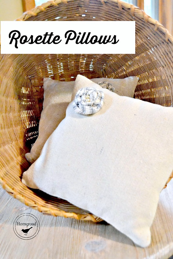 DIY drop cloth rosette pillows