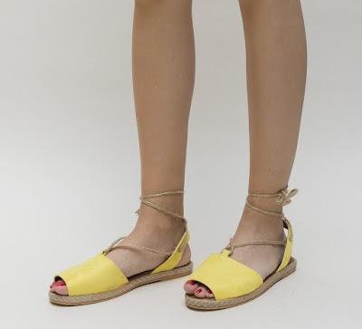sandale galbene de vara fara toc cu snur