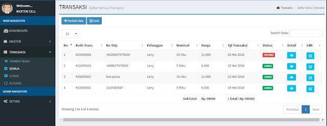 Daftar Transaksi Aplikasi pulsaku - Lupacode