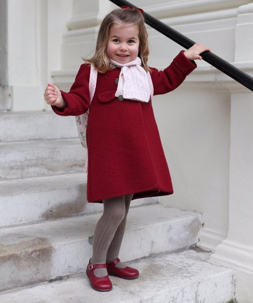 Princess Charlotte wore Amaia Kids Razorbil Coat and Mary Jane Shoes at School. Kate Middleton Duchess