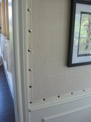 This decorative burlap wallpaper is a unique look for a room in your house
