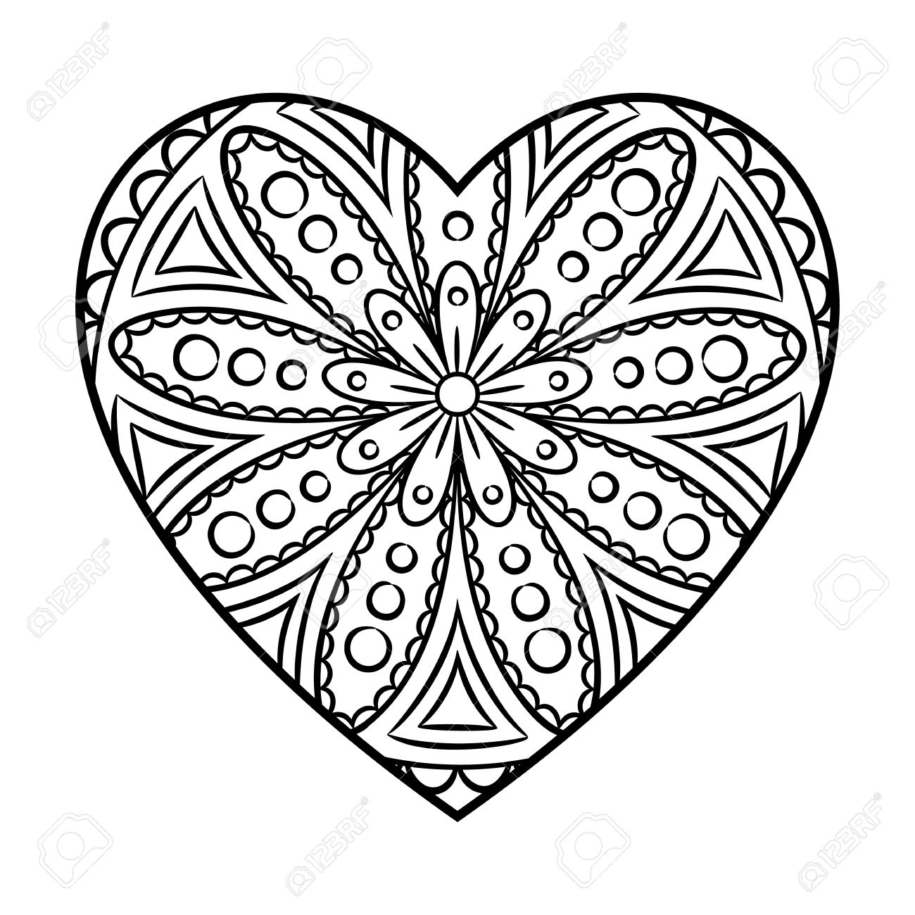 Click The Heart Mandala Coloring Pages To View Printable Version
