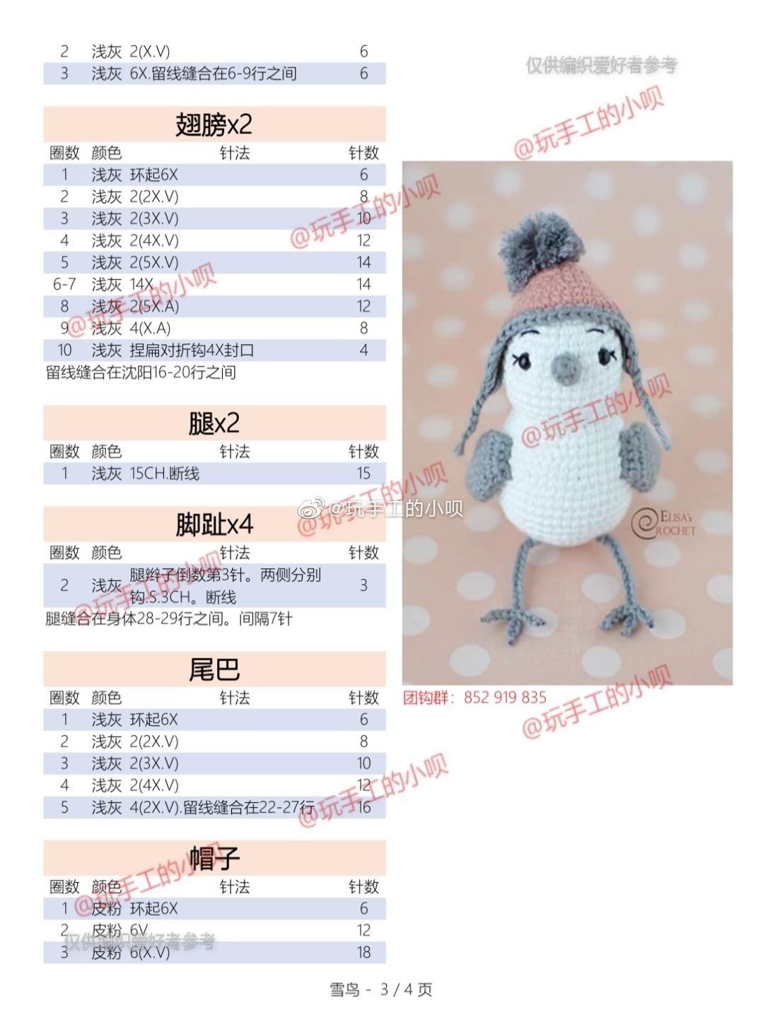 Описание вязания крючком птички (4)