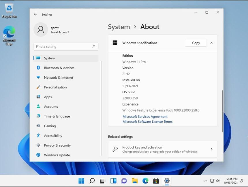 Windows 11 Pro 21H2 10.0.22000.258 (x64) Pre-Act
