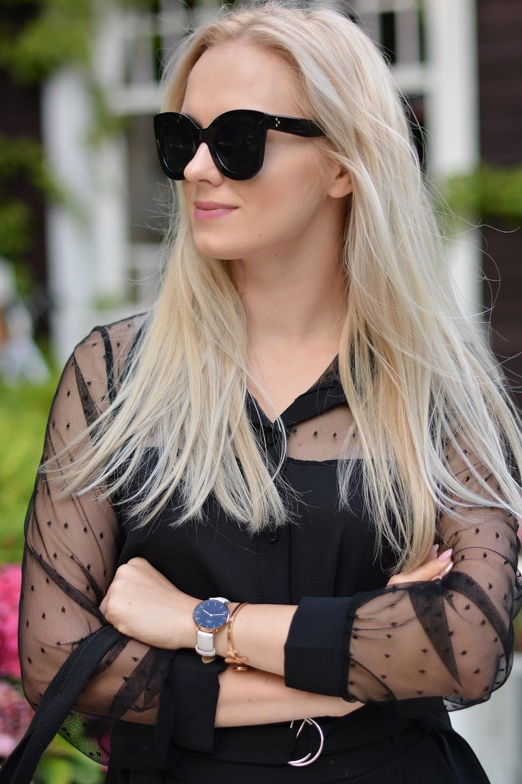 czarna koszula grochy