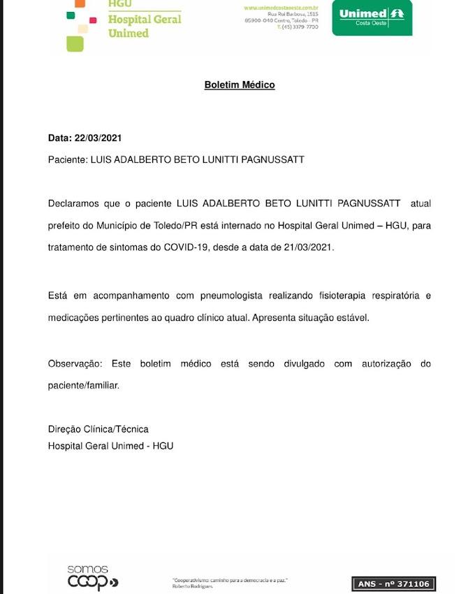 Prefeitura de Toledo divulga boletim médico do Prefeito Beto Lunitti