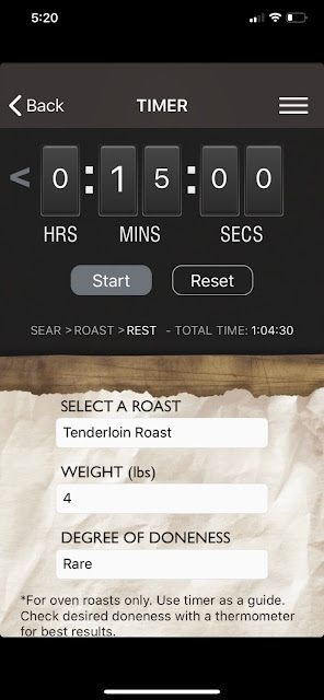 Roast Perfect app iPhone rest setting