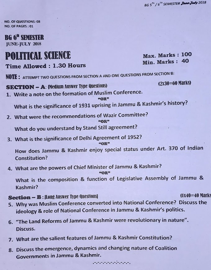 Previous Question Papers (UG Sixth Semester)