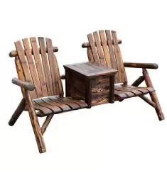 Outsunny Wooden Outdoor Two Seat Adirondack Patio Chair